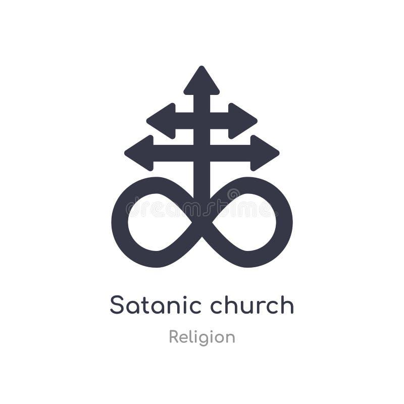 demonisch kerkpictogram de geïsoleerde vectorillustratie van het demonische kerkpictogram van godsdienstinzameling editable zing  vector illustratie