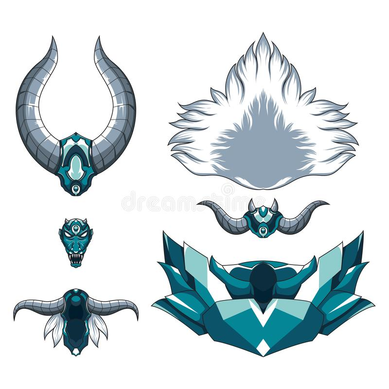 Demonisk gigantisk illustration för drake Mytisk demonhuvudillustration med horn och huggtänder royaltyfri illustrationer