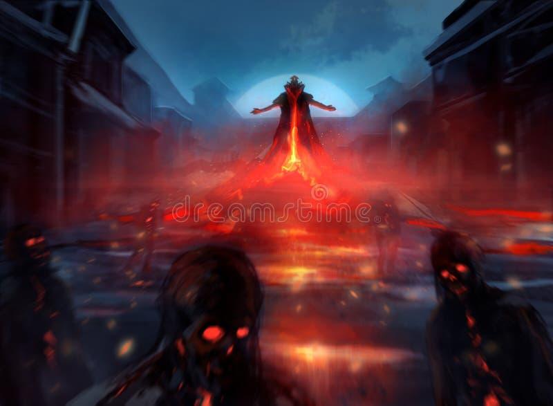 Demonlord met zombieën royalty-vrije illustratie