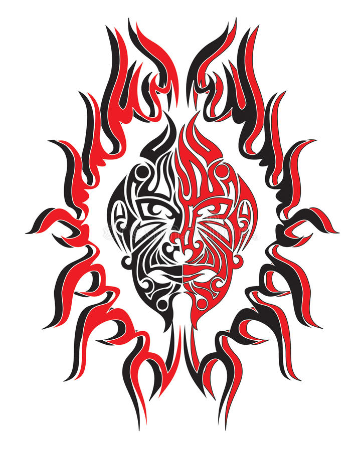 Demons fire face royalty free illustration