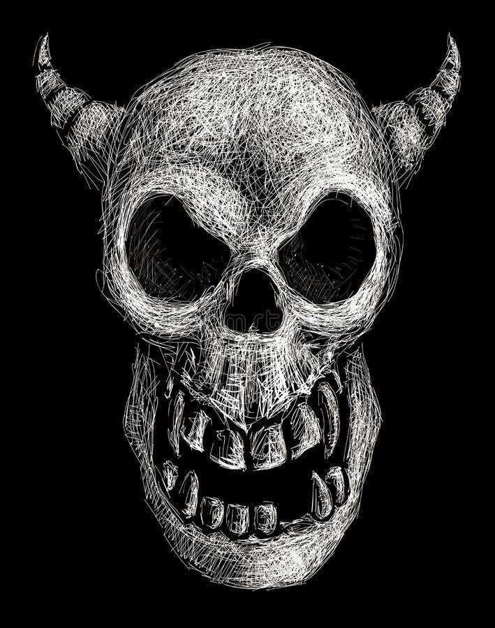 Demonskalle royaltyfri illustrationer