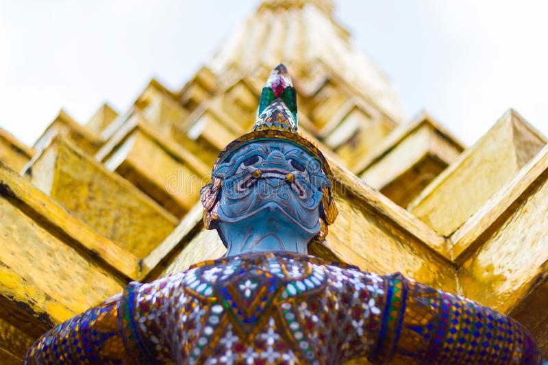 Demonstatyerna i Ramayana Bangkok Thailand arkivbild