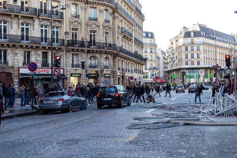Demonstração 'de Gilets Jaunes em Paris, França foto de stock royalty free