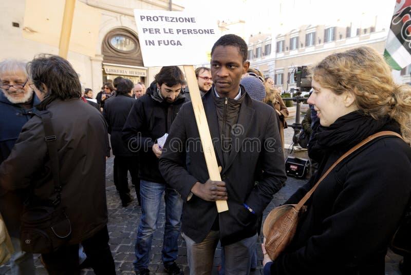 Demonstração calma em Roma, Italy fotos de stock