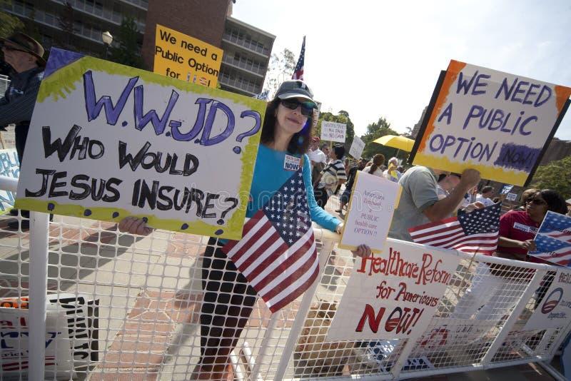 Demonstração da reforma da saúde no UCLA foto de stock royalty free