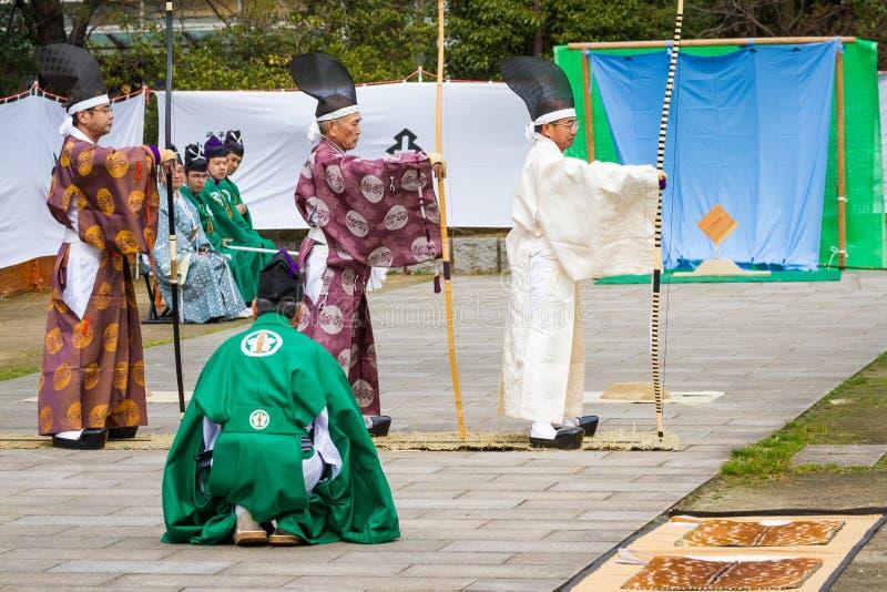 Demonstração de Kyudo imagens de stock