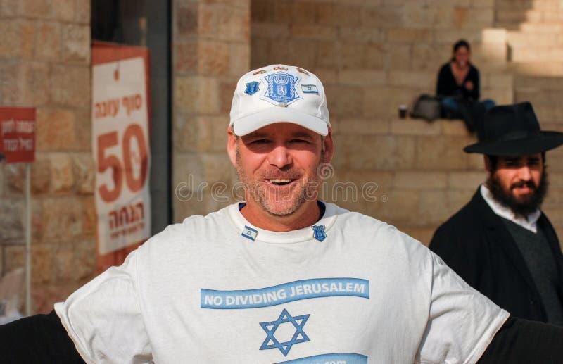 A demonstração do ativista sobre nenhum Jerusalém divisor fotos de stock