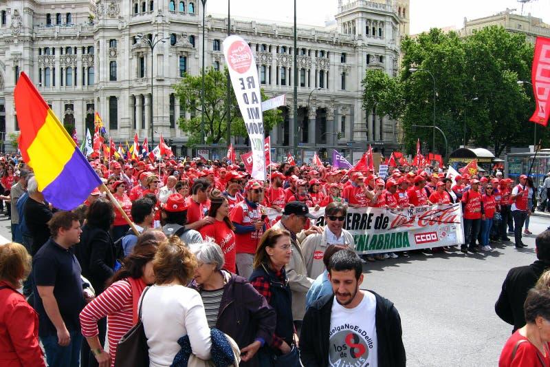 Demonstração do partido comunista da Espanha e dos sindicatos no Madri central, Espanha fotografia de stock royalty free