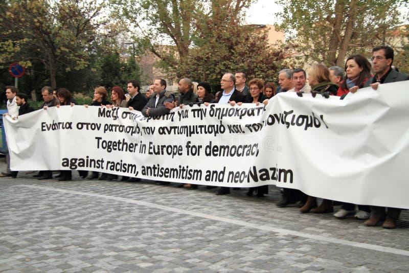 Demonstração em Atenas foto de stock royalty free