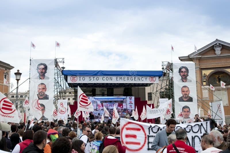 Demonstração para a ONG da emergência em Roma fotografia de stock