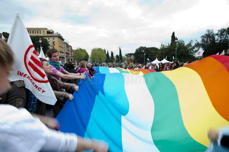 Demonstração para a ONG da emergência em Roma foto de stock royalty free