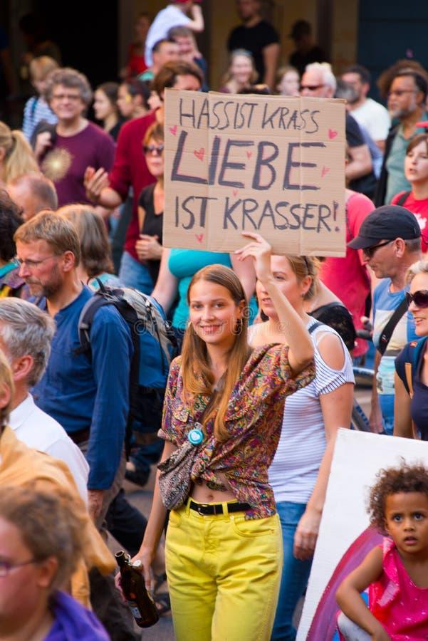 demonstração #unteilbar em Berlim, Alemanha foto de stock royalty free