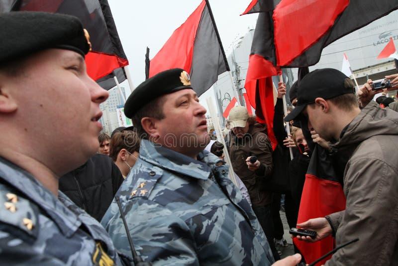 Demonstrações dos anarquistas em Moscovo. imagens de stock royalty free