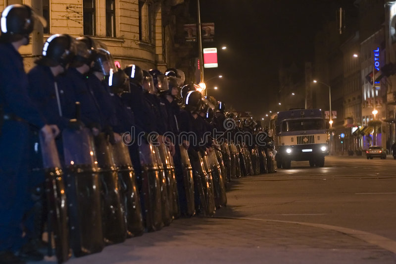 Demonstrações políticas em Hungria 2006 imagem de stock