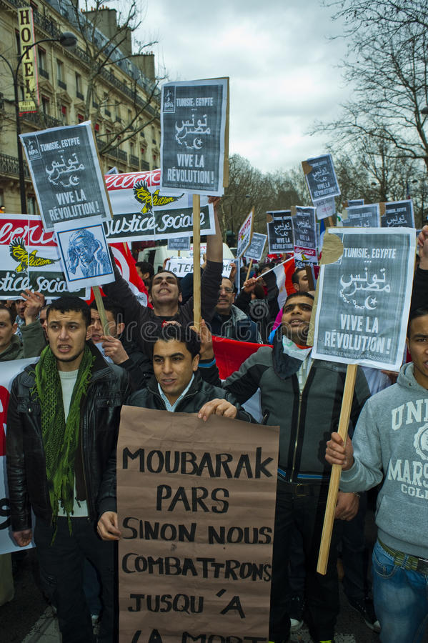 demonstraci Egypt France Paris target550_0_ obraz stock