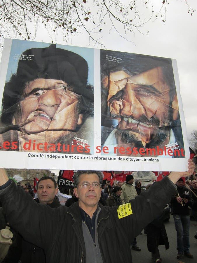 demonstracja France Libya Paris zdjęcia stock
