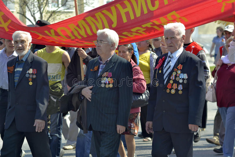 Demonstracja partia komunistyczna federacja rosyjska f obrazy royalty free