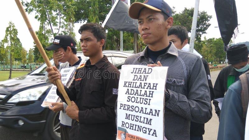 Demonstracja solidarność dla muzułmanina Rohingya fotografia royalty free