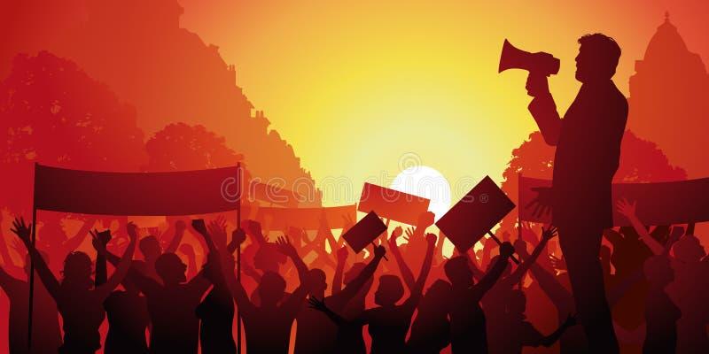 Demonstracja strajkowicze w ulicznym krzyczący ich ogólnospołecznego malkontenctwo ilustracji