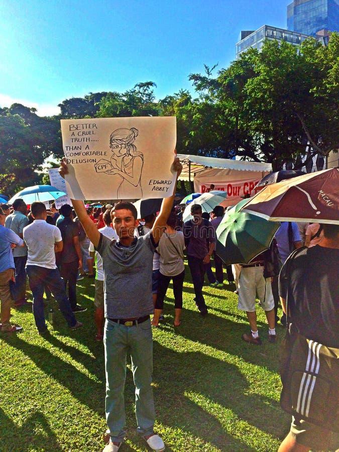 Demonstrador na reunião do protesto em Singapura imagens de stock royalty free