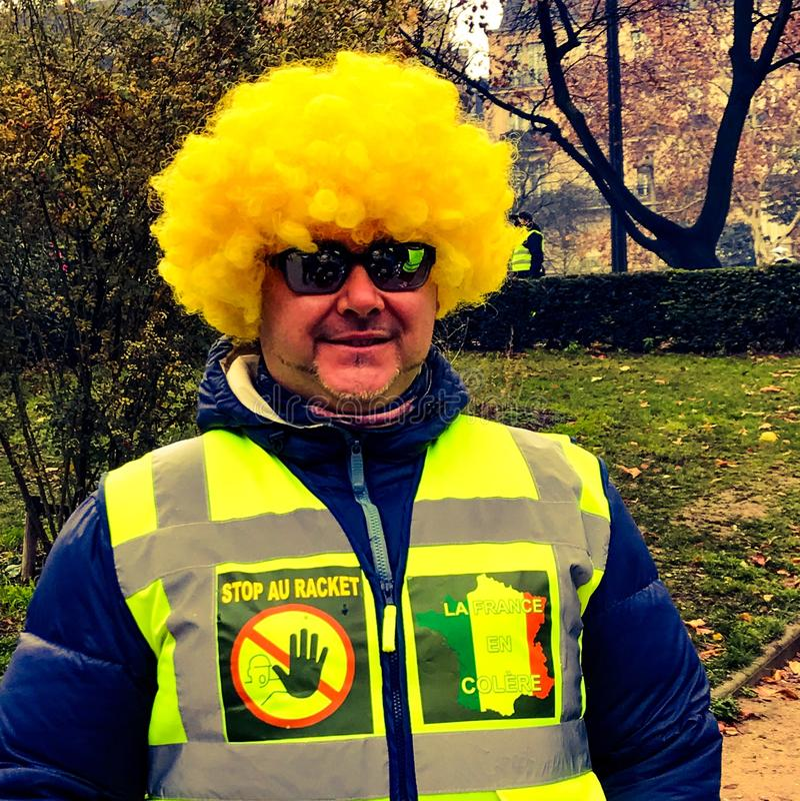 Demonstranci podczas protesta w żółtych kamizelkach fotografia royalty free