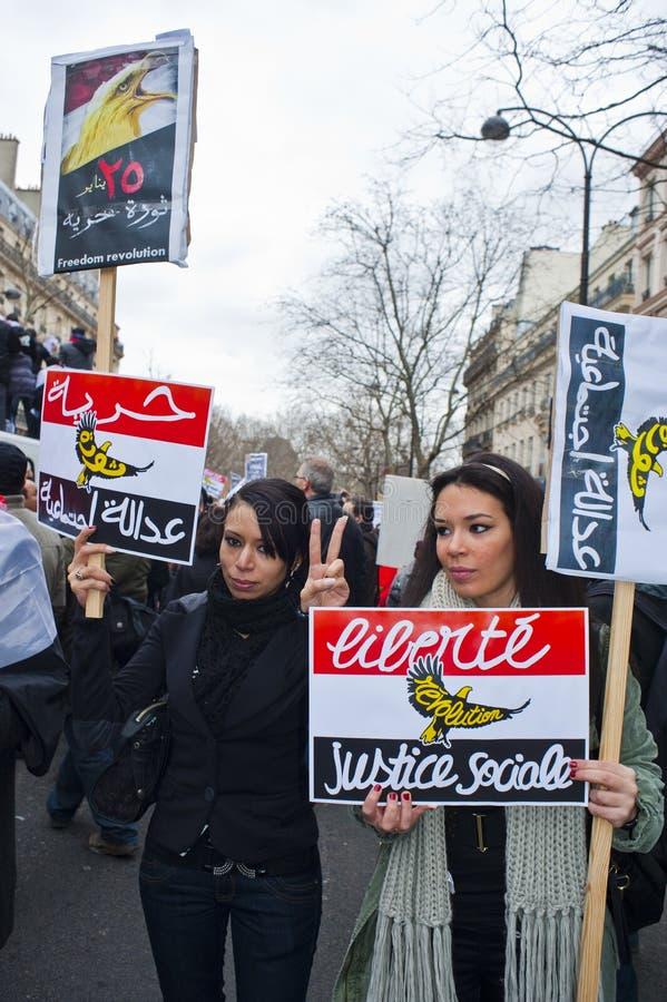 demonstrantów egipski France Paris target625_0_ obrazy stock