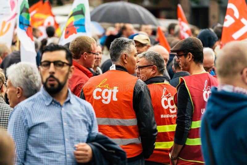 Demonstranten in Frankreich an Protest aginst Macron-Gesetz stockfotografie
