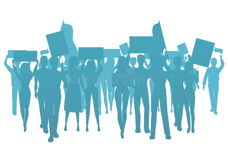 Demonstrate protest people silhouette. Public protest, social activists. Workers trike, isolated vector illustration royalty free illustration