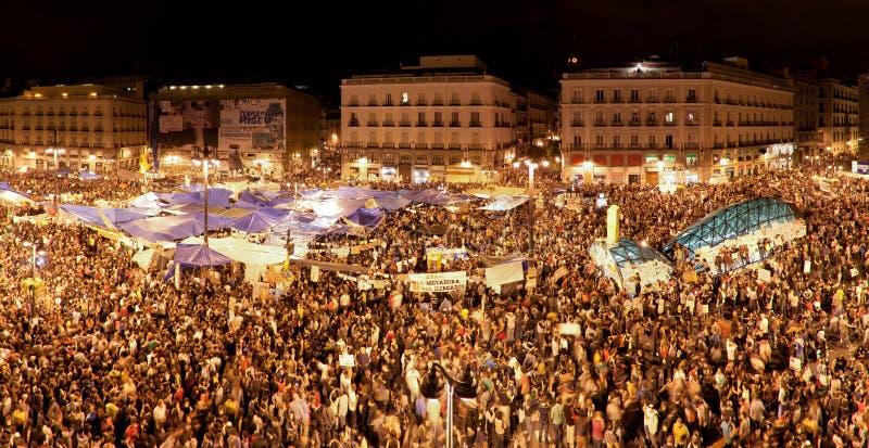 Demonstratie op Puerta del Sol, Madrid, Mei 2011 royalty-vrije stock foto