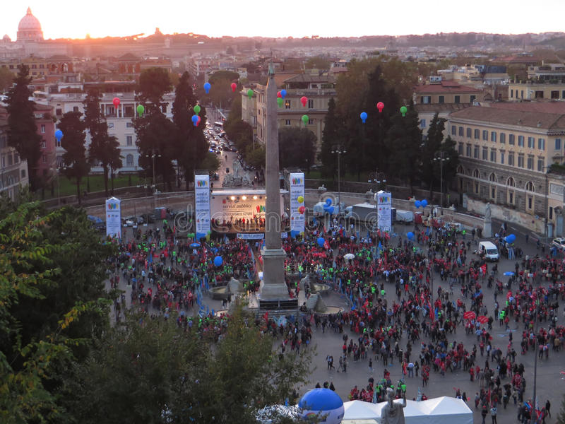 Demonstratie in Piazza del Popolo, Rome royalty-vrije stock foto's