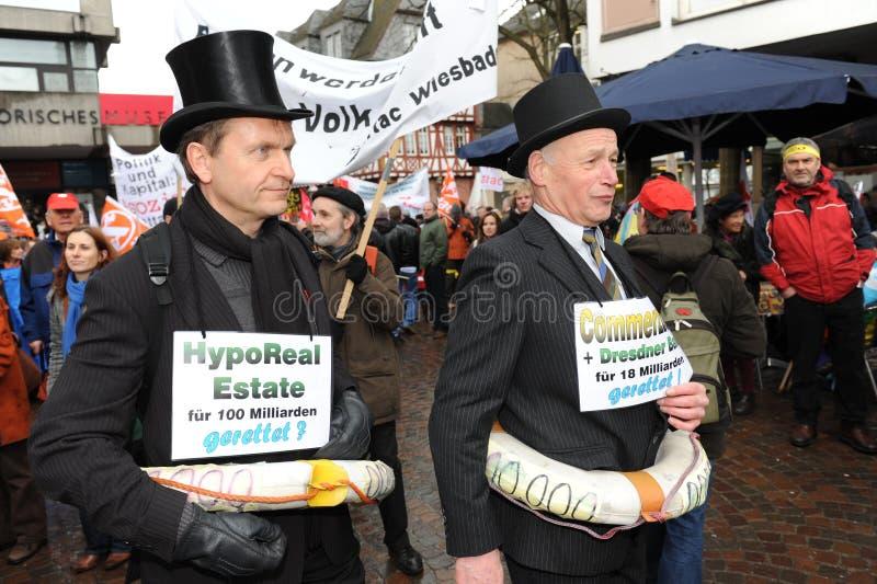 Demonstraties tegen banken royalty-vrije stock afbeeldingen