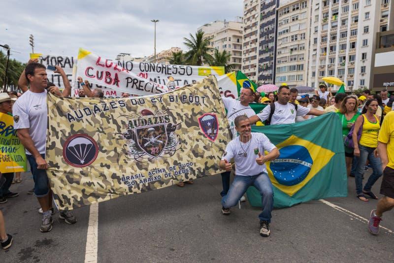 Demonstration against the government in Copacabana, Rio de Janeiro. Rio de Janeiro, Brazil - March 13, 2016: Demonstration against the government, the president royalty free stock photography