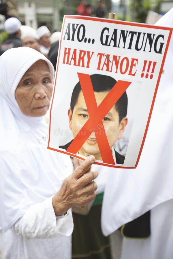 Demonstration Againts Fräulein World Event in Indonesien stockbild