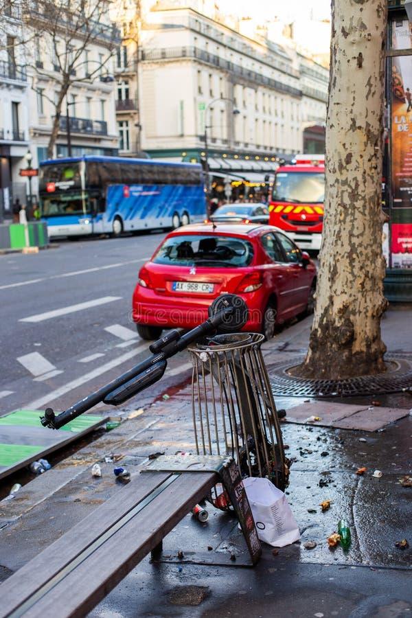Demonstration av 'Gilets Jaunes i Paris, Frankrike arkivbild