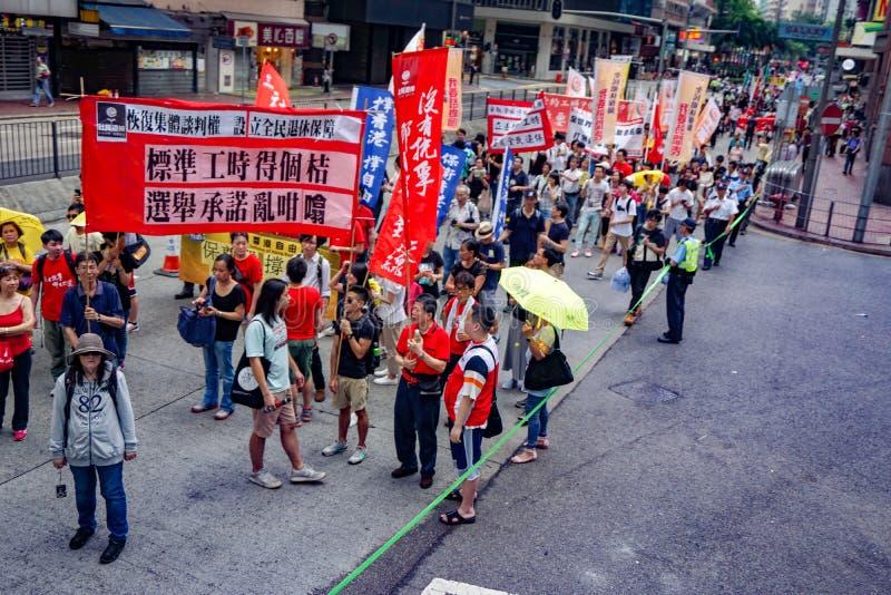 Demonstration av den kinesiska arbets- dagen royaltyfri fotografi