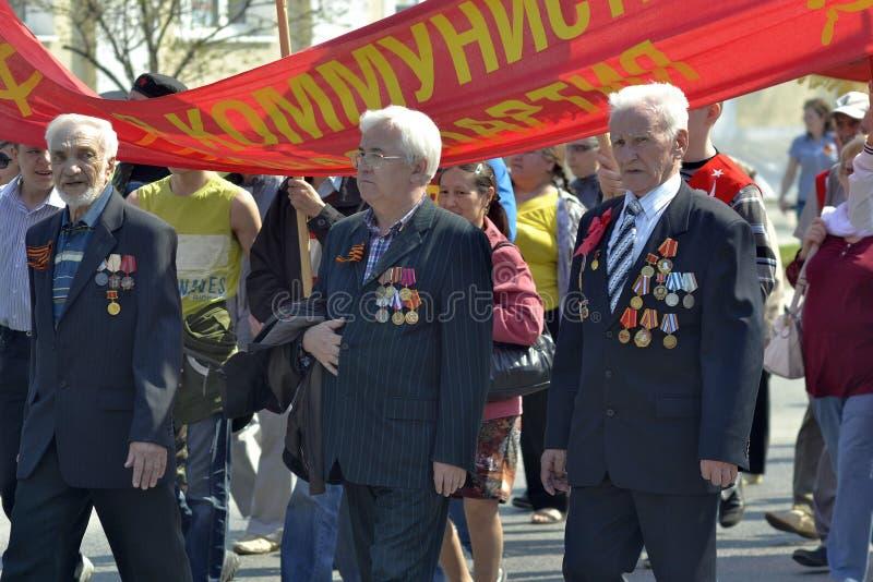 Demonstration av kommunistpartiet från den ryska federationen f royaltyfria bilder