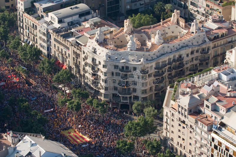 Demonstration in Barcelona. BARCELONA, SPAIN - JULY 10: Up to a million people converge on Barcelona to join a rally demanding independence for Catalonia, on stock photography