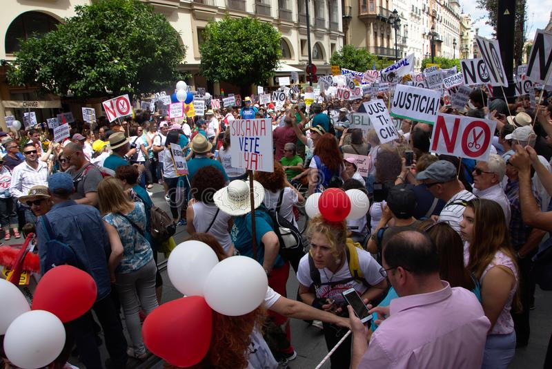 Demonstration in behalf of the Public Health Service 28. This is demonstration in Seville in behalf of the National Health Service and in behalf of a public royalty free stock photo