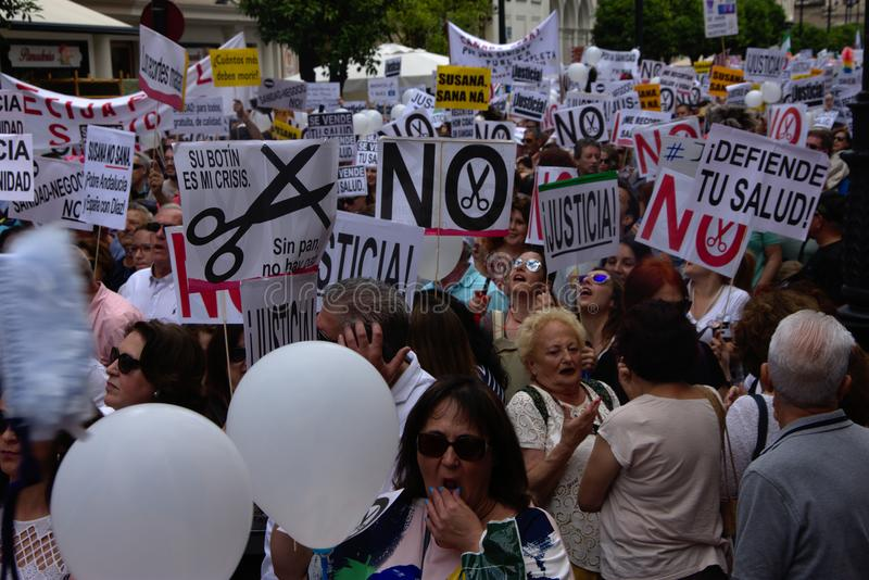 Demonstration in behalf of the Public Health Service 34. This is demonstration in Seville in behalf of the National Health Service and in behalf of a public stock photography