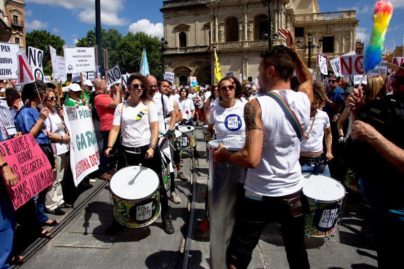 Demonstration in behalf of the Public Health Service 6. This is demonstration in Seville in behalf of the National Health Service and in behalf of a public stock photo