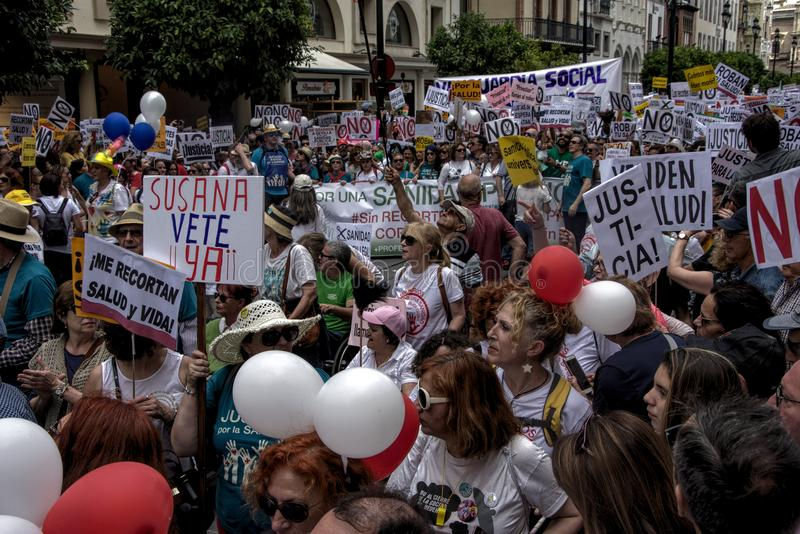 Demonstration in behalf of the Public Health Service 26. This is demonstration in Seville in behalf of the National Health Service and in behalf of a public stock photos