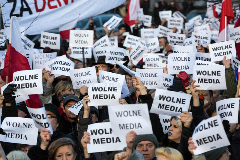 The demonstration of the Committee of the Defence of the Democracy KOD for free media /wolne media/ and democracy against PIS g. CRACOW, POLAND - JANUARY 9, 2016 stock image