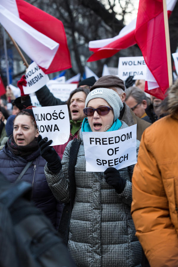 The demonstration of the Committee of the Defence of the Democracy KOD for free media /wolne media/ and democracy against PIS g. CRACOW, POLAND - JANUARY 9, 2016 royalty free stock photos