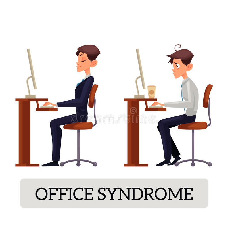 Demonstration of correct and incorrect sitting on a chair at the table vector illustration