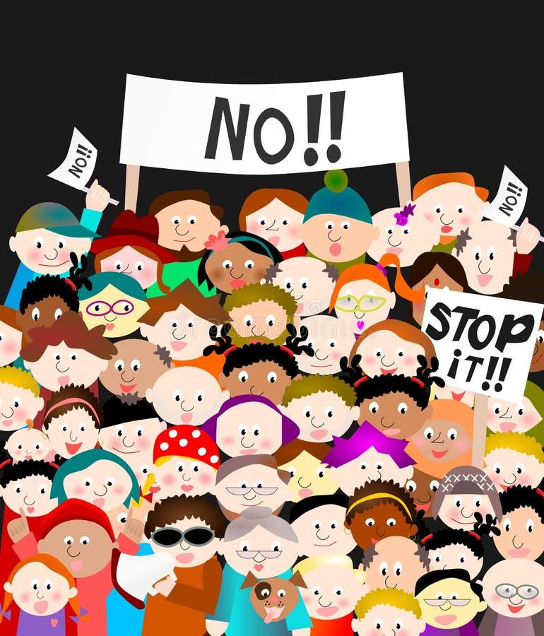 Demonstration: crowd people demonstrating stock illustration