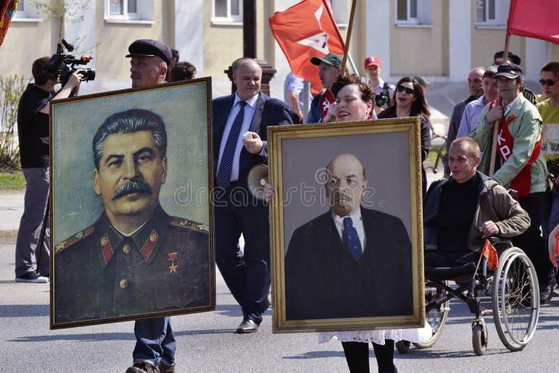 Demonstration des Kommunistischen Parteien Russlands f lizenzfreie stockfotografie