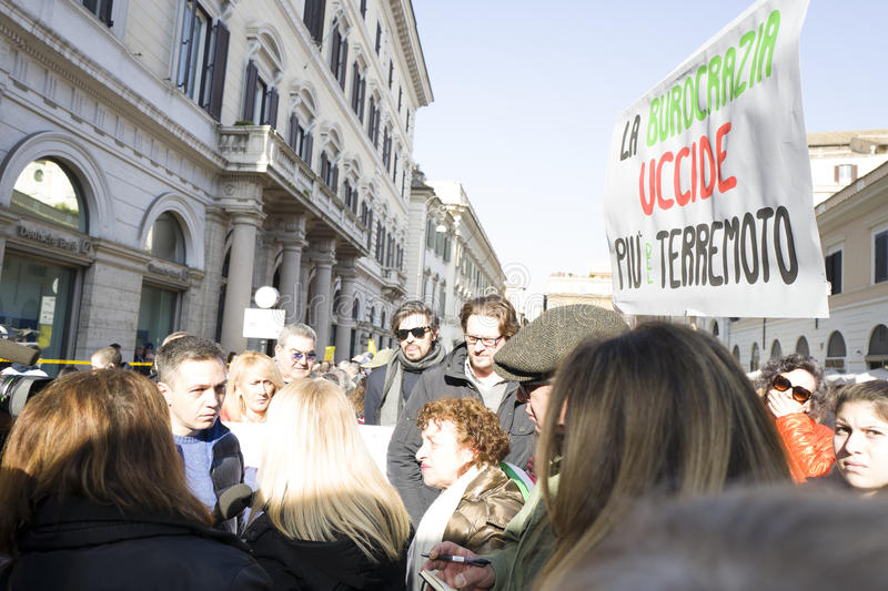 Demonstration earthquake central of Italy. Demonstration against the government of the people affected by the earthquake in central Italy, Rome 25 January 2017 royalty free stock photo