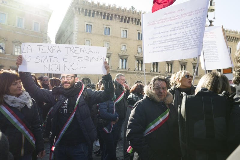 Demonstration earthquake central of Italy. Demonstration against the government of the people affected by the earthquake in central Italy, Rome 25 January 2017 royalty free stock images