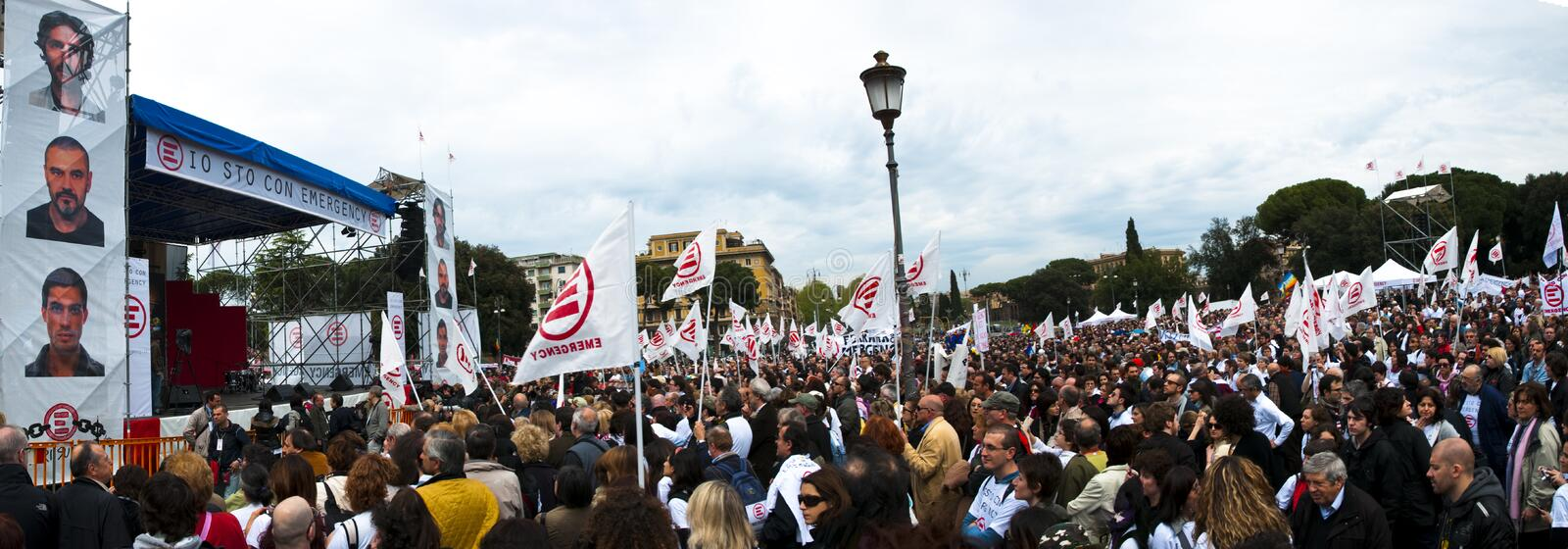 Demonstration for Emergency ong in Rome royalty free stock image