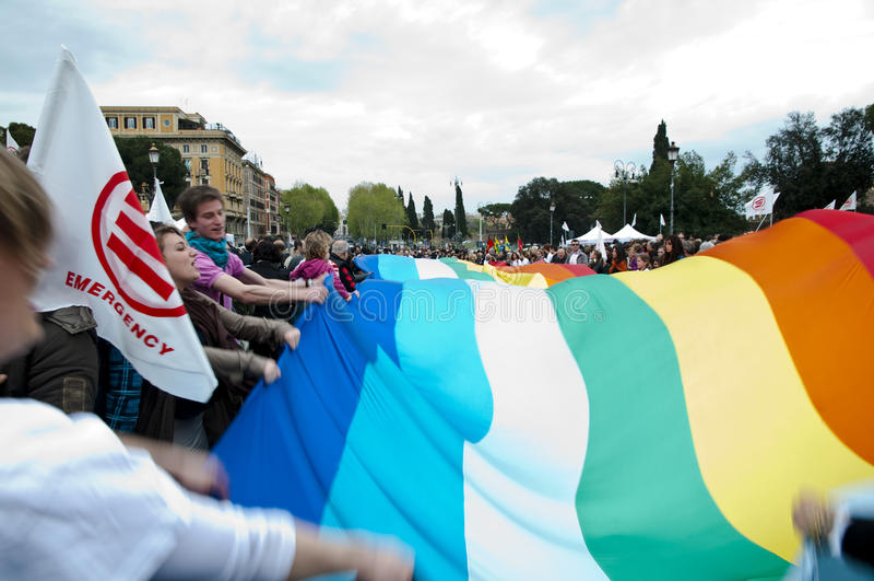 Demonstration für Notong in Rom lizenzfreies stockfoto